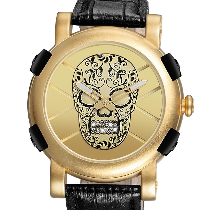 2018 Men's Wathe Pirate Skull Big Dial Gold Genuine Leather Quartz Wristwatch Male Luxury Brand Military Army Sports Style Clock