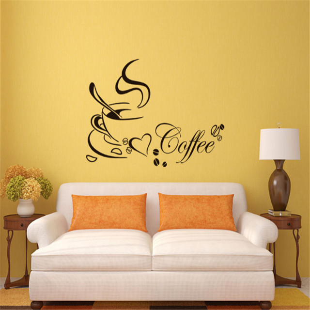 Coffee Cup with Heart Wall Stickers DIY Home Decor ,Restaurant ...