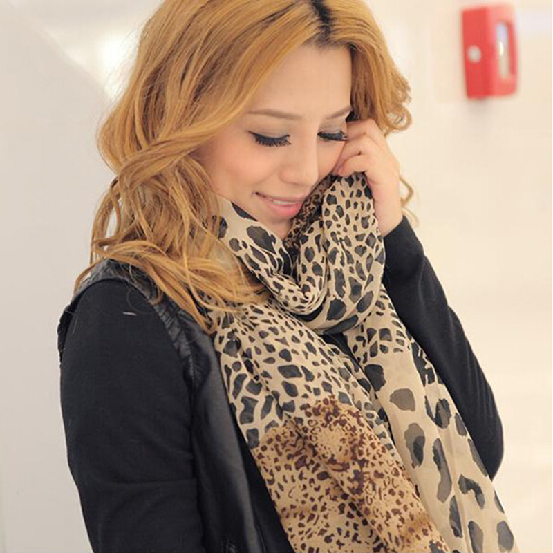 Duan Leopard Brown Autumn And Winter Female Wild Trade Chiffon Scarf Soft Fashion Novelty Wild Scarf Workplace Women Must