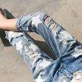 Mulheres cinco estrelas impresso jeans bezerro-Comprimento Calças calças de brim do furo mulher boyfriend jeans para mulheres jeans rasgado para as mulheres