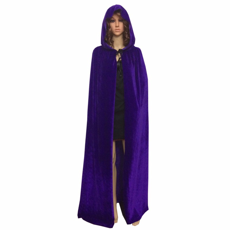 Halloween Hooded Velvet Cloak Robe Medieval Witchcraft Cape Robe Costume 170cm