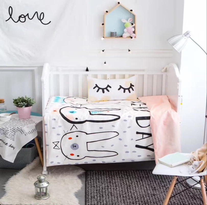 Bedding Sets Cute Rabbit Baby Baby Bedding Sets 100 Cotton Cartoon Pattern Newborn Quilt Cover Cot Sheet Pillow Case mbm tm hello kitty bedding sets lovely kitty bedding sets kids bedding strawberry bedding cute cartoon bedding sets queen size