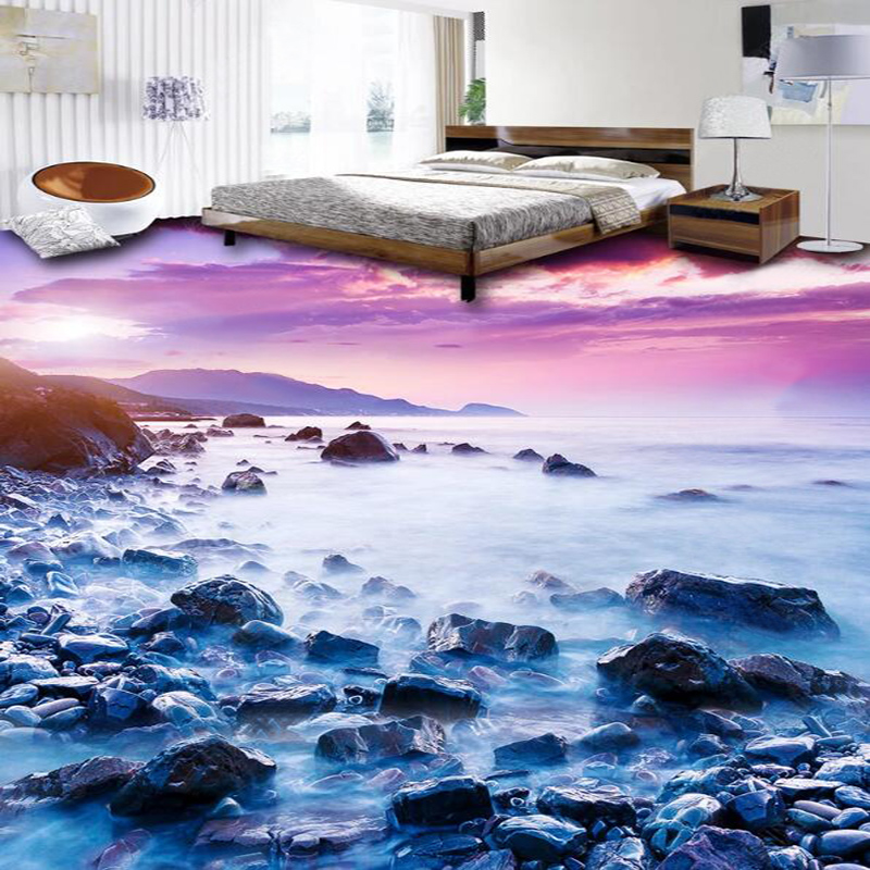 Self-Adhesive Floor Wallpaper 3D Seaside Landscape Stone Tiles Floor Mural Bathroom Kitchen PVC Self-Adhesive Waterproof Sticker
