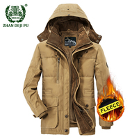 2018 Men S Winter Thicken Warm Hooded Casual Brand Army Green Jacket Coat Man Cotton Afs