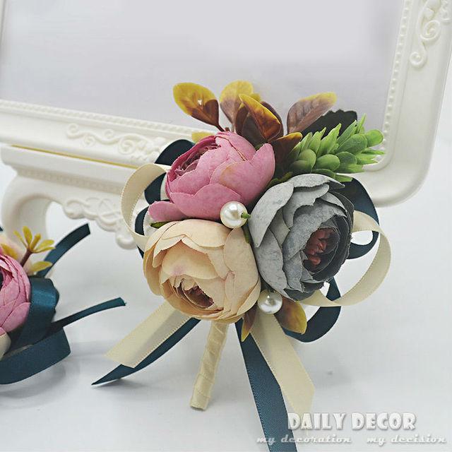 6 Stucke Vintage Kunstliche Retro Blume Braut Brautjungfer Hand