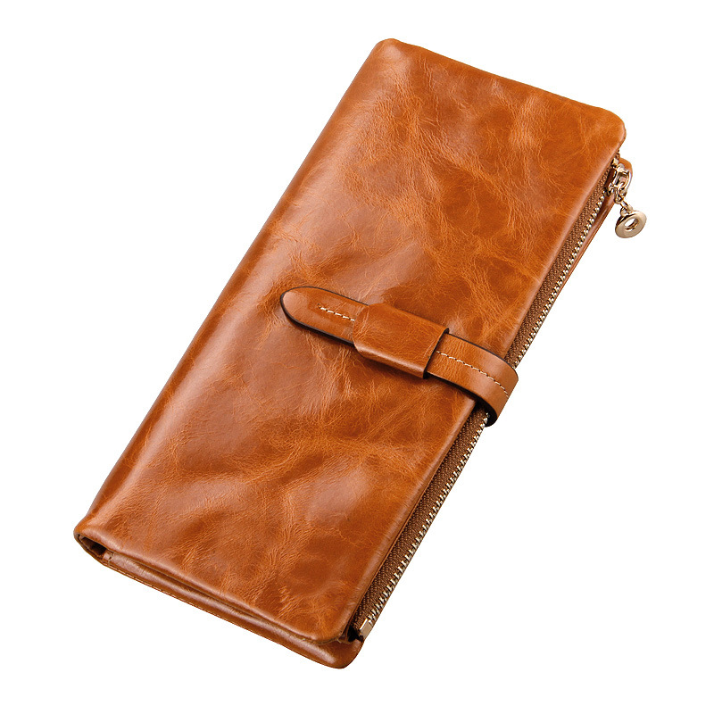 Hot Sale Cowhide Wallets Long Design Female Purse With Zipper Coin Pouch Card Holders Genuine Leather Wallet Carteira Feminina