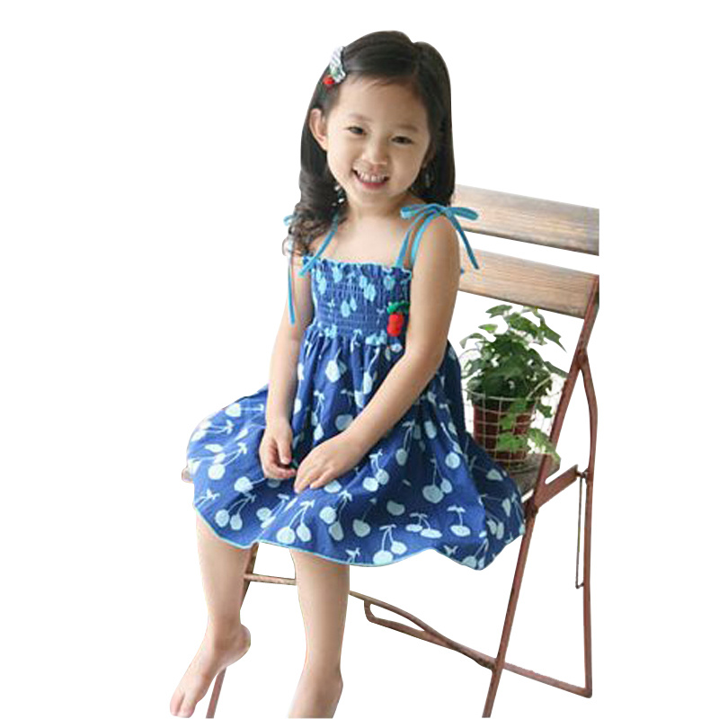 2017 new fashion children girl cherry dress clothing sets