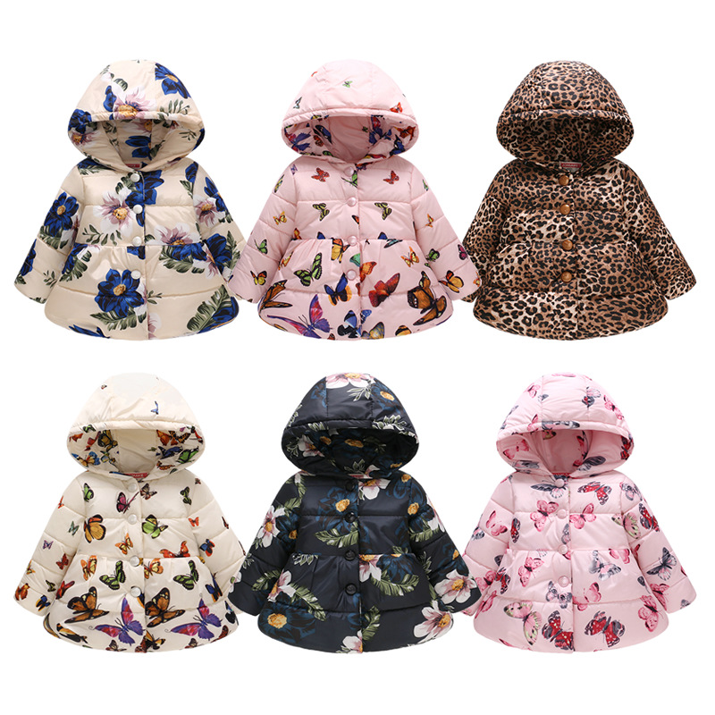 New Fashion Print Baby Girls Parkas Winter Hooded Thicken Jackets For Girls Double-breasted Warm Coat Newborn Toddler Outerwear