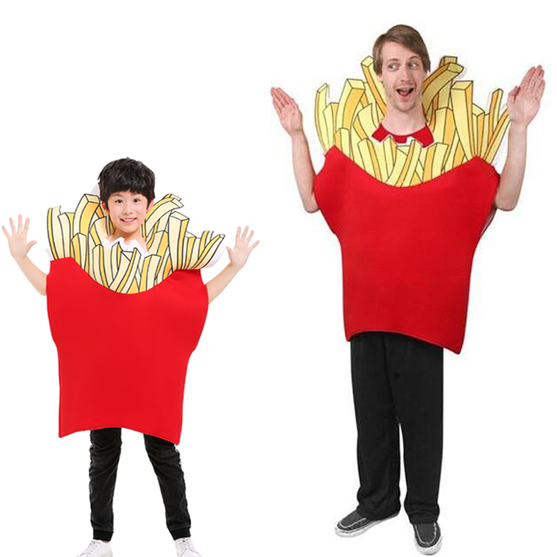 Adult and Child French Fry Costume Food Cosplay Halloween Chips Costume