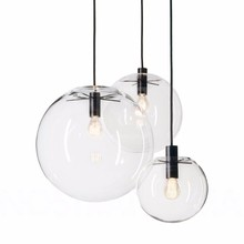 Nordic Pendant Lights Globe Chrome Lamp Glass Ball Pendant Lamp E27 Lustre Suspension Kitchen Light Fixture