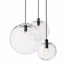 Nordic Pendant Lights Globe Chrome Lamp Glass Ball Pendant Lamp E27 Lustre Suspension Kitchen Light Fixture Indoor Home Lighting