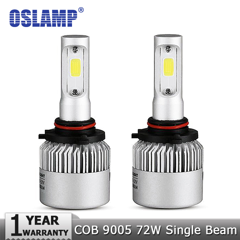 Oslamp 9005/HB3 72W/pair Car LED Headlight Bulb 6500K 8000lm COB Chips Automobile Fog Lamps All-in-one design with Cooling Fan