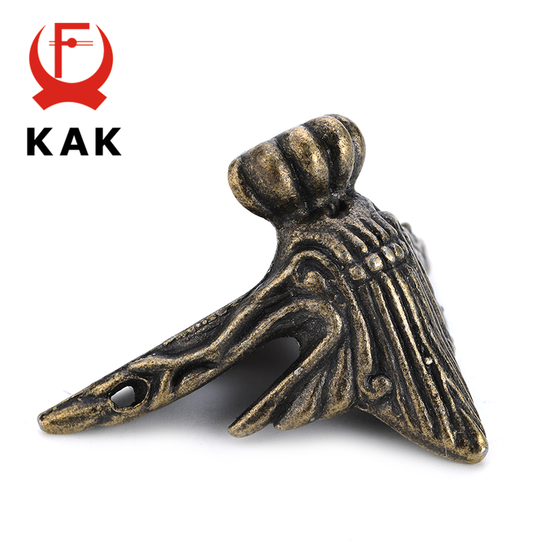 4PCS KAK 40x30mm Antique Wood Box Feet Leg Corner Protector Triangle Rattan Carved Decorative Bracket For Furniture Hardware