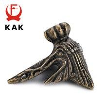 4PCS KAK 40x30mm Antique Wood Box Feet Leg Corner Protector Triangle Rattan Carved Decorative Bracket For Furniture Hardware