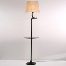 Modern Zemin Lambaları Oturma Odası Yatak Odası Çalışma Ayakta Lambaları Hediye 5 W Led Ampul Işıkları Siyah Demir Beyaz Kumaş Dekor Ev 110-220 V