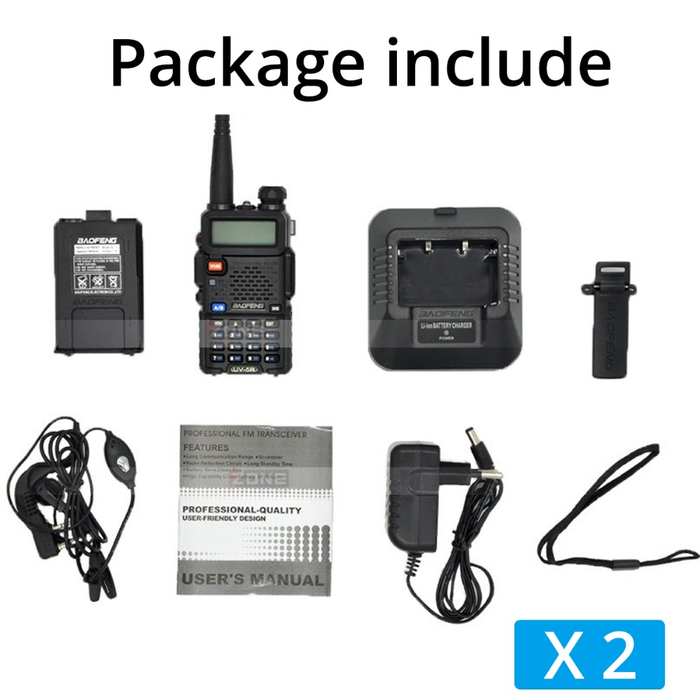 2 st Baofeng UV-5R Walkie Talkie UV5R CB-radiostation 5W 128CH VHF - Walkie talkie - Foto 6