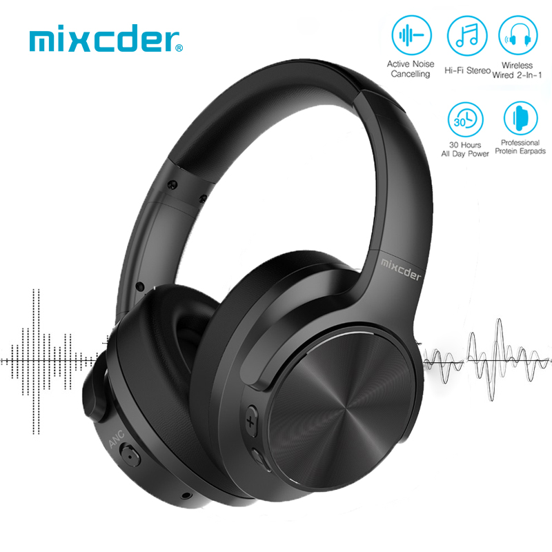 Mixcder E9 Bluetooth Headphone ANC Active Noise Cancelling Wireless Headphones with Microphone Over Ear HiFi Deep