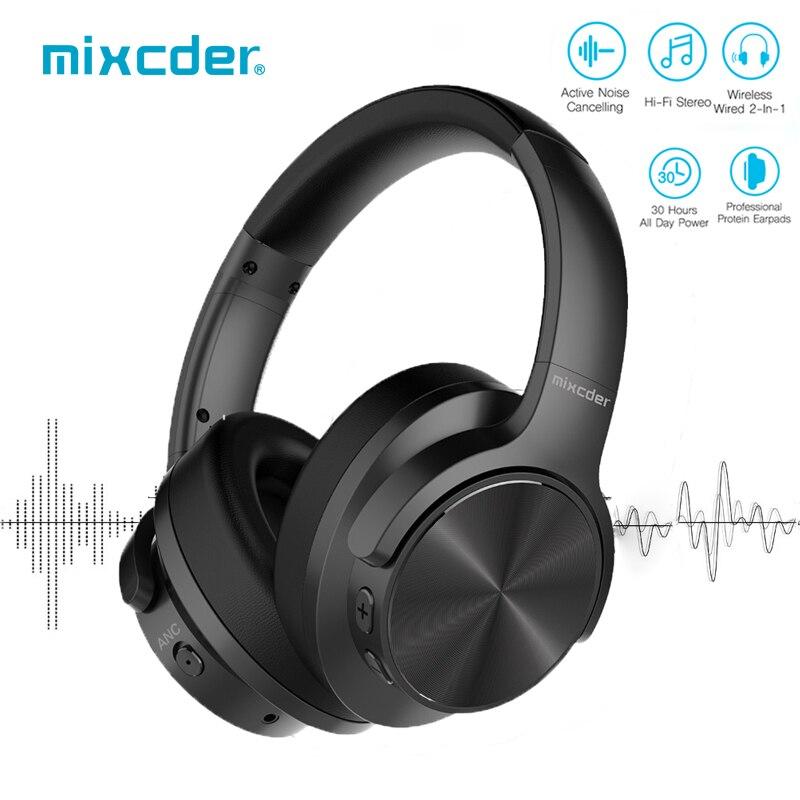 Mixcder E9 ANC Active Noise Cancelling Sem Fio Bluetooth Fone De Ouvido Fones De Ouvido com Microfone Sobre fones de Ouvido de Alta Fidelidade de Graves Profundos para TV