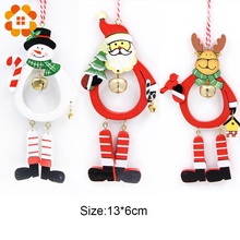 3pcs Colorful DIY Creative Wooden Christmas Series Bell Wood Crafts Pendants Decoration