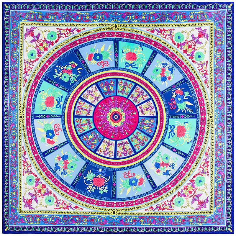 2019 أحدث تصميم باندانا الطباعة الشتاء وشاح المرأة شالات دائرة الملاك الزهور طباعة الفاخرة العلامة التجارية حك الحرير والأوشحة التفاف