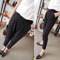 J2FE220#8107 New Female Fashion Classic Basic Harem Full Length Pants Women Korean Slim Elastic Waist Black Pants Trousers