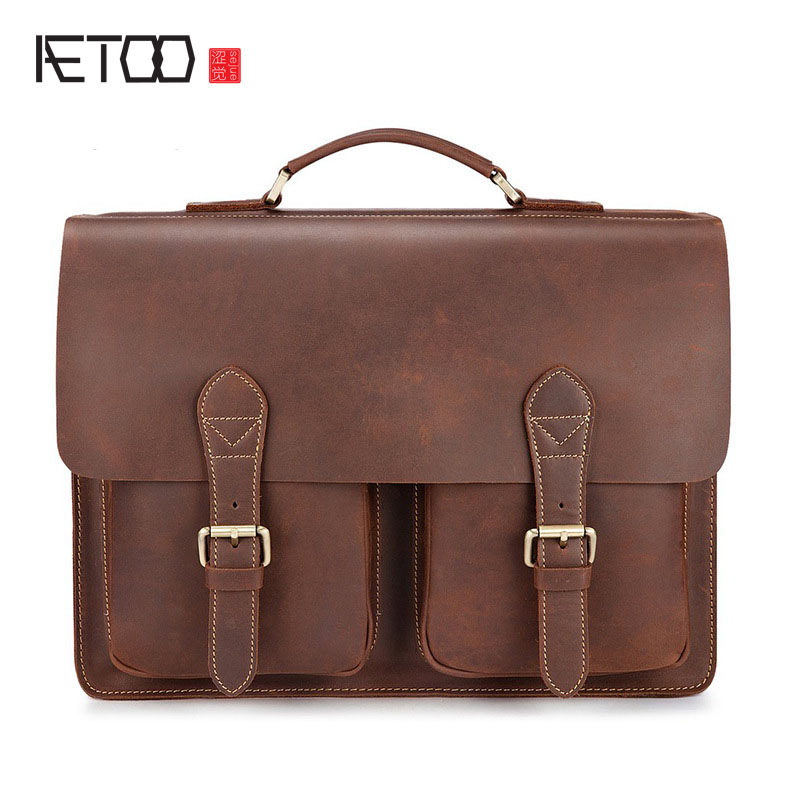 AETOO New mad horse leather briefcase retro first layer of leather cash supply handbag business package leather men bag briefcase men s style leather casual male mad horse skin retro brown leather men s business package handbag 2017 the latest