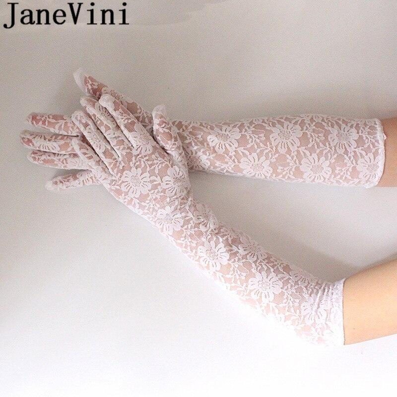 JaneVini White Lace Wedding Gloves 44CM Long Bride Bridal Party Elbow Gloves Full Finger Black Gloves for Women Wedding Dress