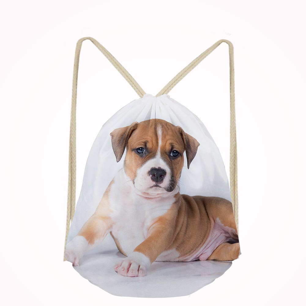 American Staffordshire Terrier Dog Lover School Bags Bookbags Boys Girls Drawstring Bag Kids Shoe Pocket String Shoulder Case