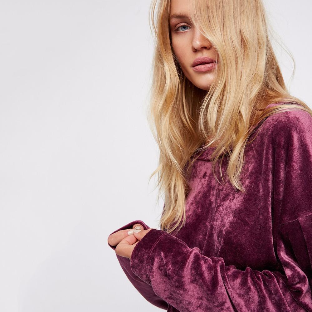 HDY Haoduoyi Women Purple Velvet Hoodies Long Sleeve Casual Sweatshirts Sweet Loose Pullovers 2017 Autumn Winter Tops Female new 8