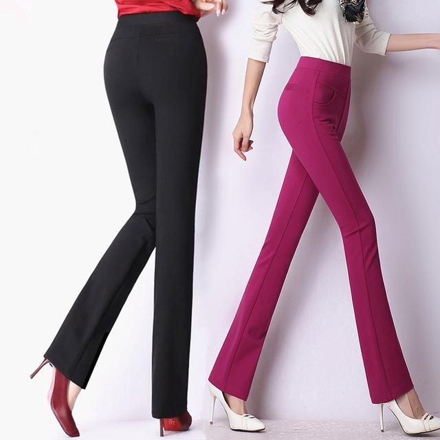 Alta calidad clásico de las mujeres traje de negocios oficina trabajo de las señoras pantalones de estiramiento de cintura alta pantalones anchos de la pierna más el tamaño pantalones mujer