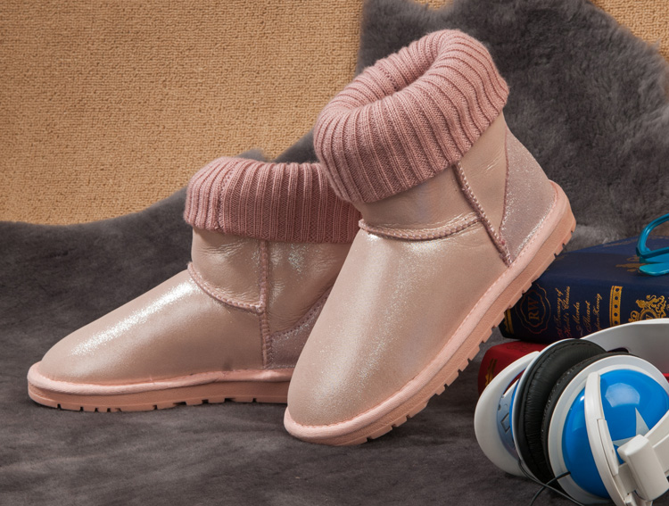 100%  Natural Sheepskin Leather Fashion Snow Boots Waterproof Winter Boots Warm Winter Shoes Fashion Women boots Free Shipping