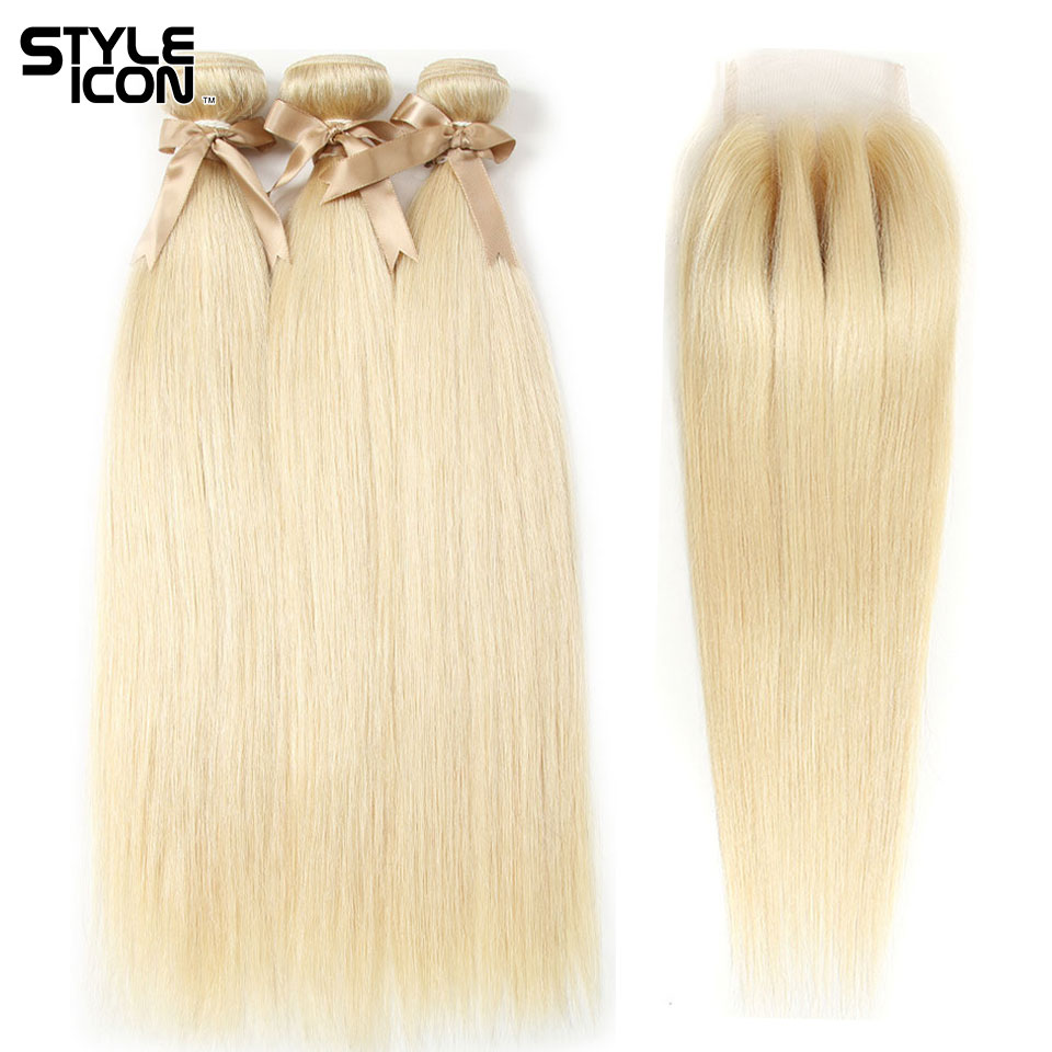 Styleicon Straight Blonde 613 Bundles With Closure 100% Human Hair Brazilian Straight Hair Weaves With Lace Closure 3 Part