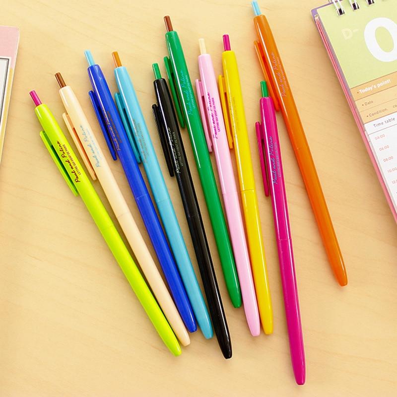 12 Stks/partij Regenboog Kleur Gel Inkt Pen Slanke Body Klik Type Balpen Pennen Canetas Escolar Kantoorbenodigdheden Materiaal Scholen 6248 Speciale Kopen