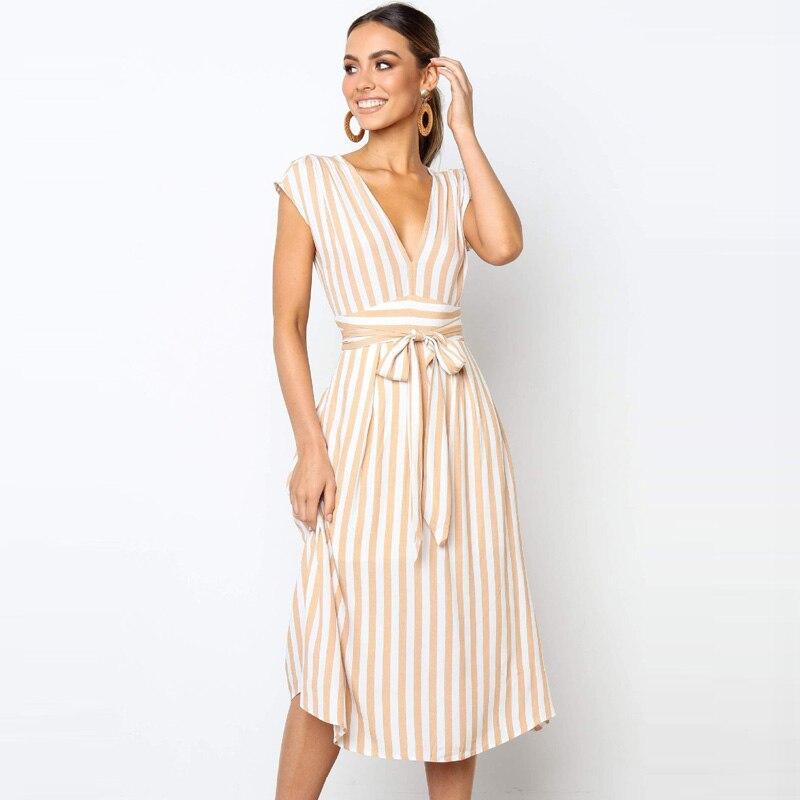 Lossky летнее женское длинное платье в полоску, сексуальное, с глубоким v-образным вырезом, элегантные женские платья 2020, ремень,Летние платья ж...