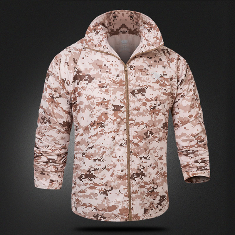 HOT 2019 Outdoor Summer Ultra thin Long Sleeve UV protection Tactical skin Camouflage Sun Protective Camping Hiking Jacket Men in Hunting Coats Jackets from Sports Entertainment