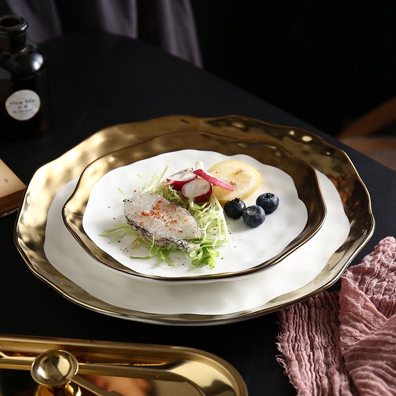 Yilala Ceramic Plates Golden Slim Dinner Dishes 9 Inch 7 Inch Tableware Porcelain Plate Dish Dinnerware