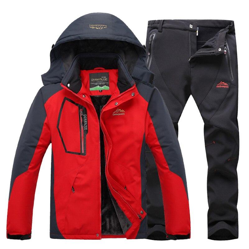DIRENJIE Homens Inverno À Prova D' Água Manter Lã quente ternos jaqueta de caminhadas Ao Ar Livre Viagem de acampamento de Esqui Snowboard Jaqueta + calça ternos