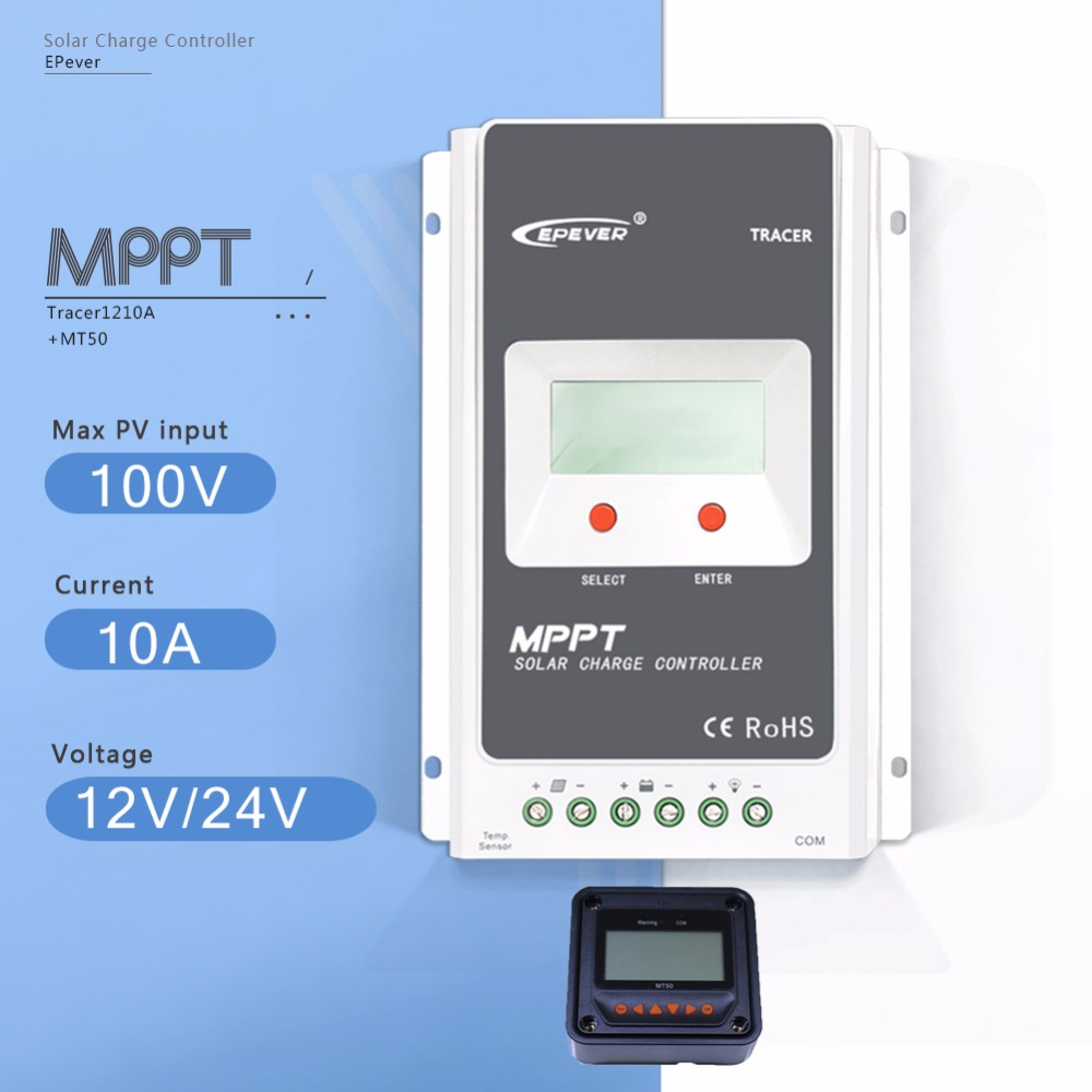 MPPT 10A Tracer1210A with MT50 Meter Solar Charge Controller 12V/24V Auto LCD Display Light and Time Controller PV Regulator 10a mppt solar controller with 5 stages time adjustment function 12v 24v ip67 solar charge controller with optional lcd remote