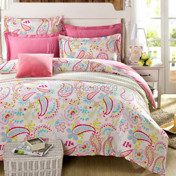 buy light pink paisley bedding kids girls teens flower 5pcs 100 cotton. Black Bedroom Furniture Sets. Home Design Ideas