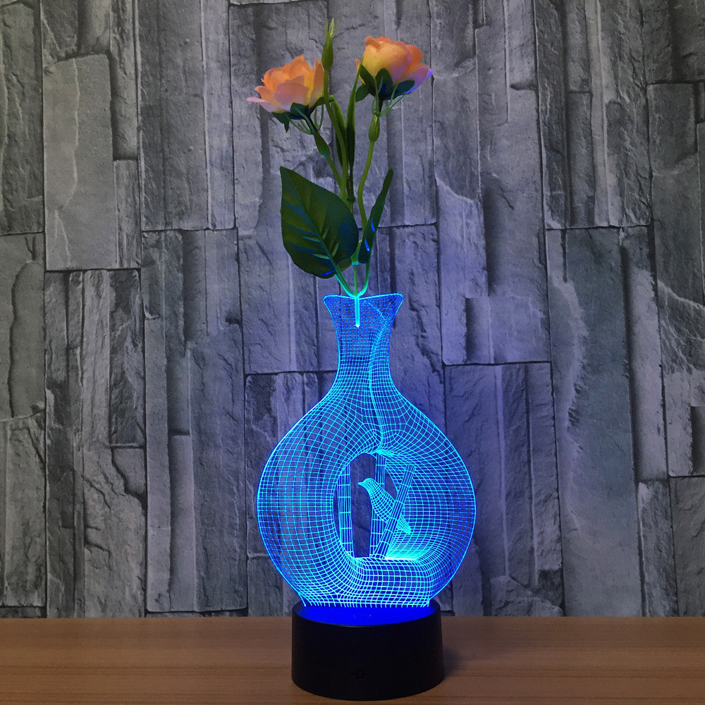 Aquarius Cage Bird 7 Color 3D Illusion Lights LED Touch Desktop Night Light Acrylic Lamp Bedroom Living Room USB And AA Power