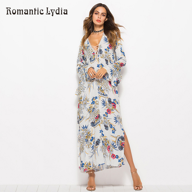 US $23.31 38% OFF|Women White Floral Boho Bohemian Dresses 2018 Summer  Autumn V Neck Loose Maxi Long Dress Plus Size-in Dresses from Women\'s  Clothing ...