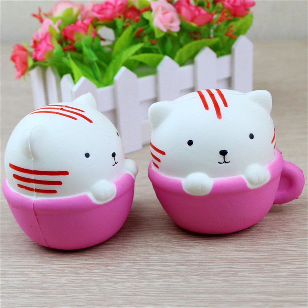 MUQGEW Childrens Toys Cute Kitten Squishy Decor Slow Rising Kid Squeeze Relieve Anxiet Gift Toys TOYS for Children