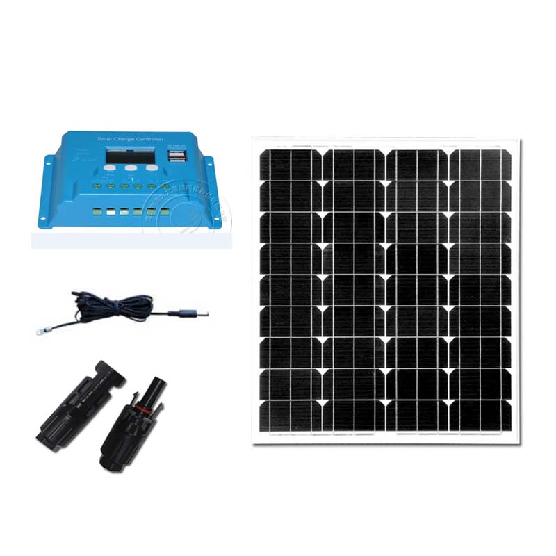 Kit Solar Placa Solar 12v 70W Solar Charge Controller 10A 12V/24v MC4 Connector PV Cable Solar Tuinverlichting Camping LED