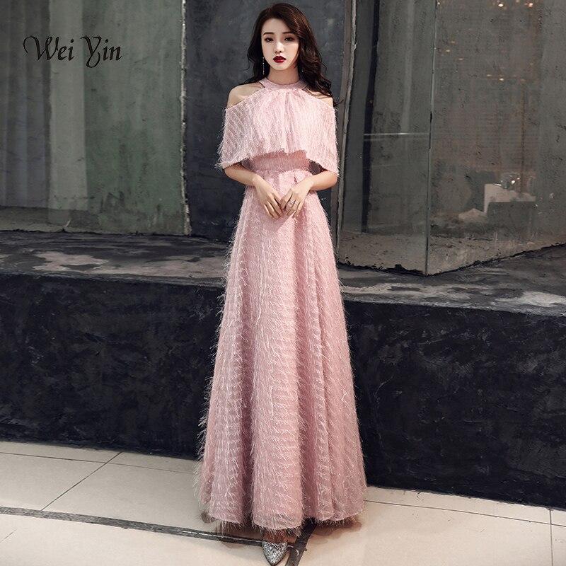 Weiyin 2019 dentelle robes de soirée rose contraste couleur longue élégante robes Longos formelle sans manches robes de bal WY1366