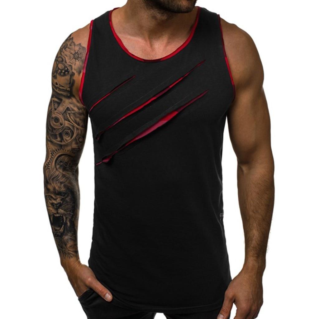 Summer Men's Vest New Style Fashion Sleeveless Bodybuilding Scratch Personality   Top   Leisure Sport   Tank     Top   debardeur homme