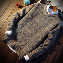 In the spring of 2018 new men round collar solid colored sweater sweater fashion leisure knit