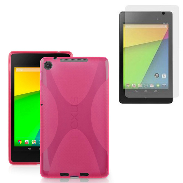 1x Clear Screen Protector, Silicone X Line Soft Silicon Rubber TPU Gel Skin Shell Cover Case For Google Nexus 7 II 2nd 2gen 2013 universal silicone case for screen 7 9 9 tablet pc all round protective cover kickstand flexible rubber silicon shell coque