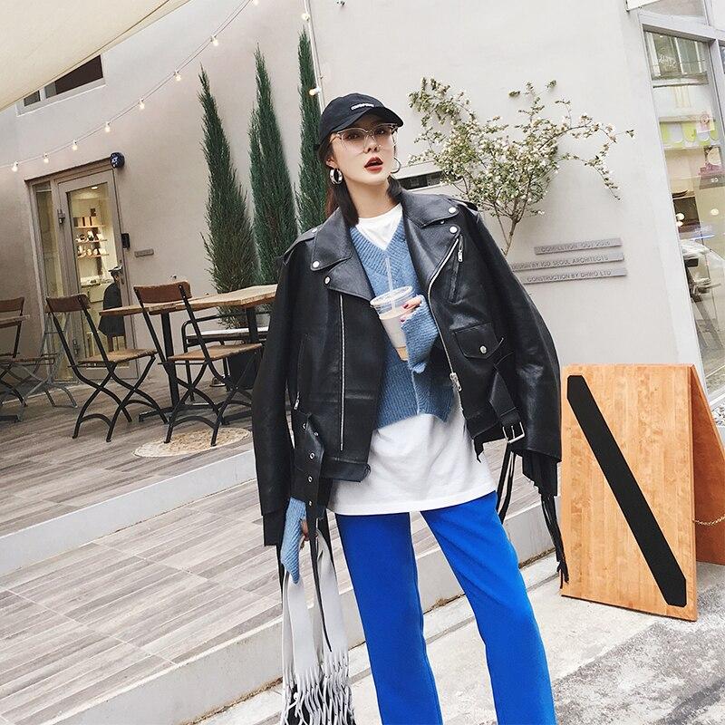 En Black Ayunsue Pu Zipper Cuir Faux Design Manteau Noir Femelle Veste Lx1235 Moto Outwear Nouveau 2019 Court Automne wq4CTYw