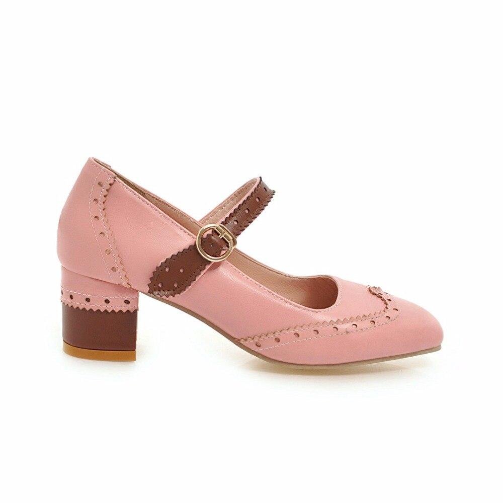S. الرومانسية النساء مضخات زائد حجم 34 43 أزياء أنيقة مربع اصبع القدم مشبك حزام مربع كعب امرأة أحذية الأصفر الأسود الوردي SH676-في أحذية نسائية من أحذية على  مجموعة 3