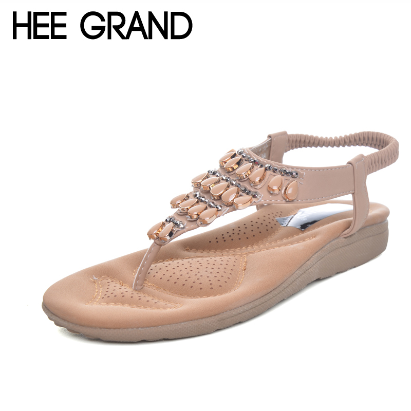 HEE GRAND 2017 Flip Flops Platform Gladiator Sandals Bohemia Creepers Casual Slip On Flats T-Strap Shoes Woman Plus Size XWZ3465 hee grand 2017 wedges gladiator sandals bling crystal flip flops sexy high heels gold casual platform shoes woman xwz3463